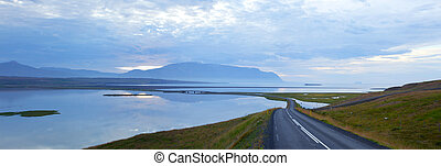 Scenic road on iceland - Highway through Iceland landscape ...
