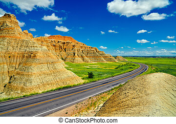 Scenic road throught Badlands National Park, South Dakota, USA.