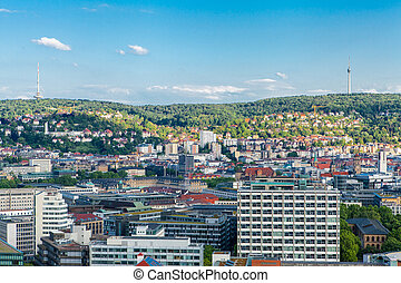 Scenic rooftop view of Stuttgart, Germany showing modern...