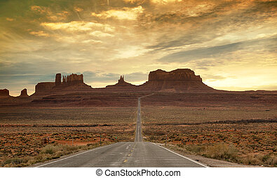 scenic route to the monument valley at sunset