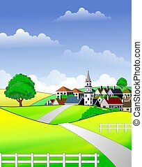 An illustration of scenic rural landscape in vibrant colors