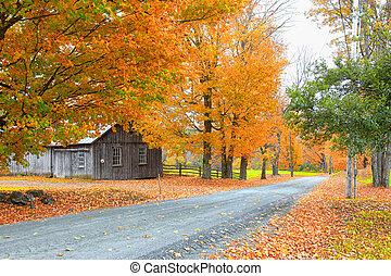 Scenic rural Vermont landscape in autumn time