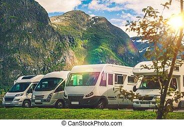 Scenic RV Park Camping. Few Camper Vans in Remote Location. ...
