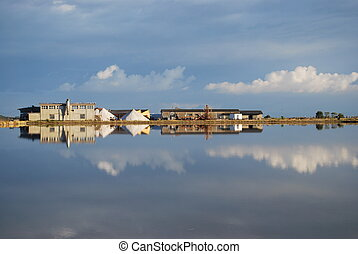 Scenic saltern and water reflections, Cervia, Ravenna, Italy