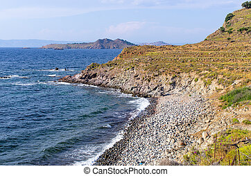 Scenic seashore on one of greek islands