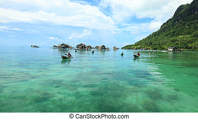Scenic seaside view at Semporna, Sabah, Malaysia.