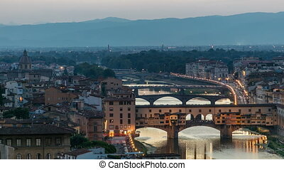 Scenic Skyline View of Arno River day to night timelapse, Ponte Vecchio from Piazzale Michelangelo at Sunset, Florence, Italy.