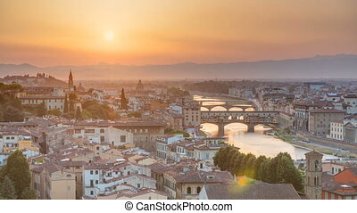 Scenic Skyline View of Arno River timelapse, Ponte Vecchio from Piazzale Michelangelo at Sunset, Florence, Italy.