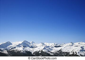 Scenic snow covered mountains.