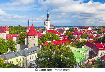 Scenic summer aerial panorama of Tallinn, Estonia