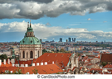 Scenic summer aerial panorama of the Old Town architecture in Prague, Czech Republic