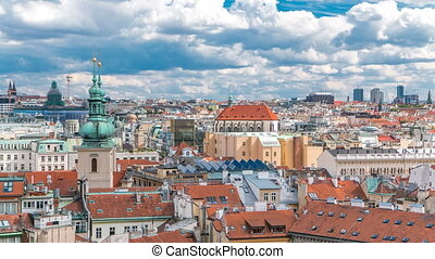 Scenic summer aerial timelapse view of the Old Town architecture with terracotta roofs in Prague , Czech Republic