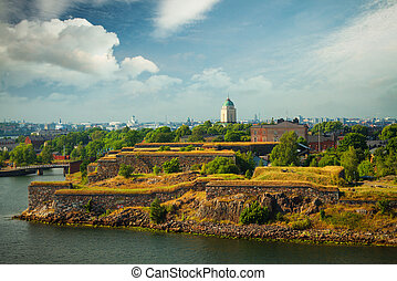 Scenic summer aerial view of Suomenlinna
