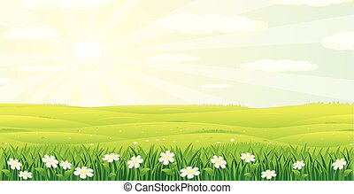Scenic Summer Day Landscape. Vector Image