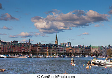 Scenic summer panorama of the old Town in Stockholm, Sweden