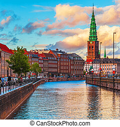 Copenhagen, Denmark - Scenic summer sunset in the Old Town...