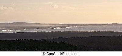 scenic sunset at the coastline in Janubio, Lanzarote