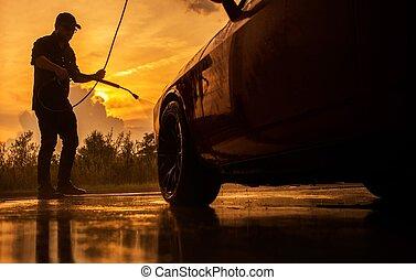 Scenic Sunset Car Washing