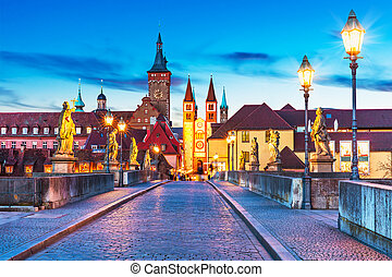 Wurzburg, Bavaria, Germany - Scenic sunset evening view of...
