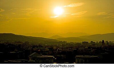 scenic sunset over macedonian capitol skopje - orange sky ...