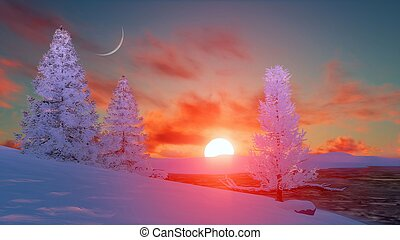 Scenic sunset over snowy winter firs - Winter landscape with...