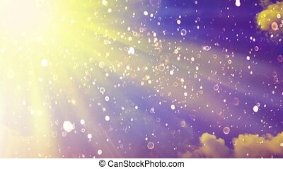 Scenic sunset. Particle on cloudy background