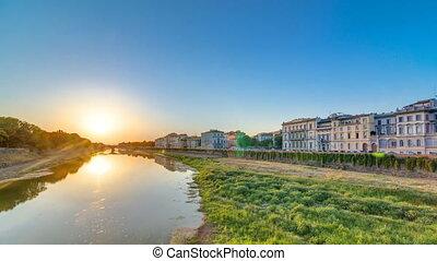 Scenic Sunset Skyline View of Tuscany City, Housing,...