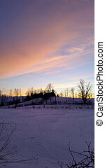 Scenic Sunset View in Winter