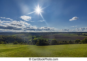 scenic Taunus landscape with forest and fields in beautiful afternoon light