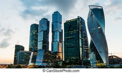Scenic time lapse of the Moscow International Business Center, Russia