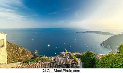 Scenic timelapse view of the Mediterranean coastline of the town of Eze village on the French Riviera