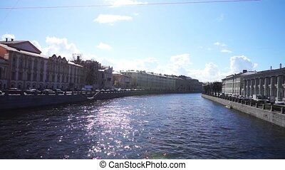 Scenic view at Griboyedov channel with two embankments, St. Petersburg