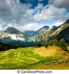 scenic view at maloja - scenic view of swiss mountains at...