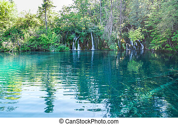 scenic view at Plitvice Lakes with green, turquoise water