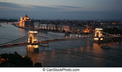 Scenic view at The Szechenyi Chain Bridge in Budapest,...