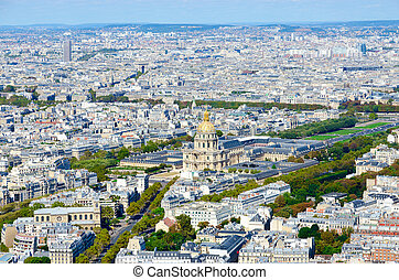 Scenic view from above on Cathedral of Les Invalides, Paris, France