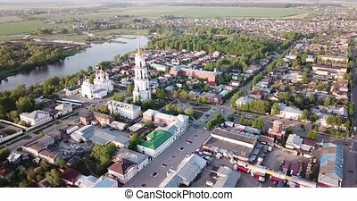 Aerial panoramic view of Resurrection Cathedral on bank of Teza River in Russian city of Shuya, Ivanovo oblast