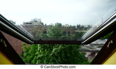 Scenic view from inside a house window