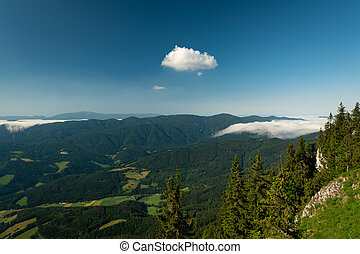 Scenic view from Rax mountains on a sunny morning in summer