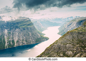 Scenic View From Rock Trolltunga - Troll Tongue In Norway