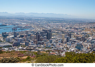 Scenic View in Cape Town, Table Mountain, South Africa  from an aerial perspective