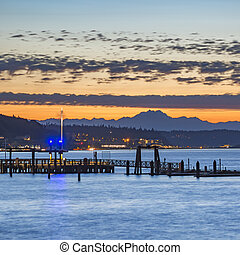 Scenic view in the Tacoma bay at sunset