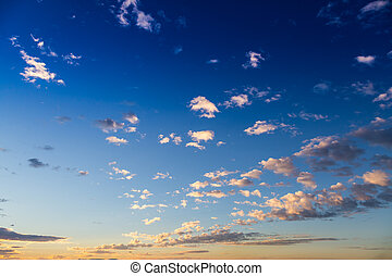 Scenic view of a beautiful sunset with blue sky and clouds