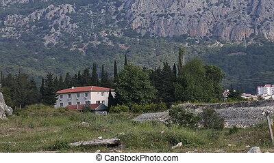 Scenic view of a mountain village Akseki Antalya Turkey -...