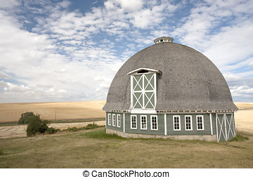 Scenic view of a round barn.