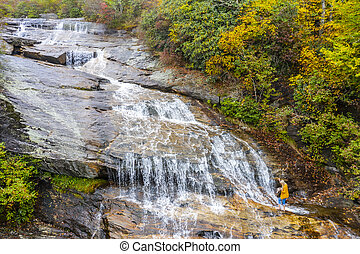 Scenic View Of A Waterfall Nestled In The Carolina Mountains