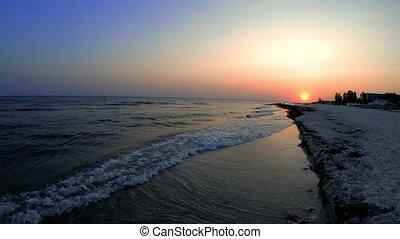 Scenic view of beautiful sunset above the sea. Serene sea...