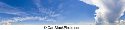 Scenic view of blue sky with fluffy clouds. Panorama