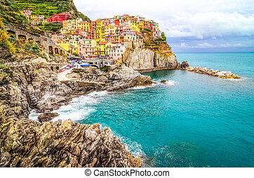 Scenic view of colorful village Manarola in Cinque Terre