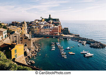 Scenic view of colorful village Vernazza in Cinque Terre, Italy